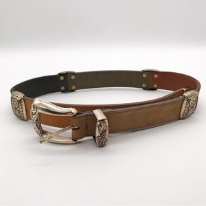 Vintage Brighton colorblock leather embossed belt